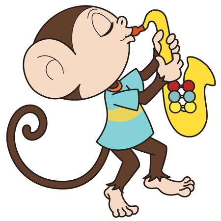 Cartoon monkey playing a saxophone  Vector
