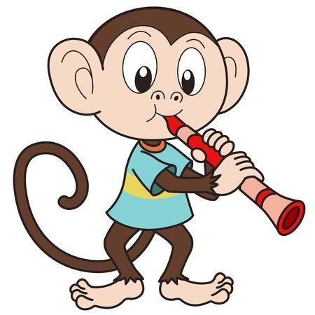 clarinet: Cartoon monkey playing a clarinet  Illustration