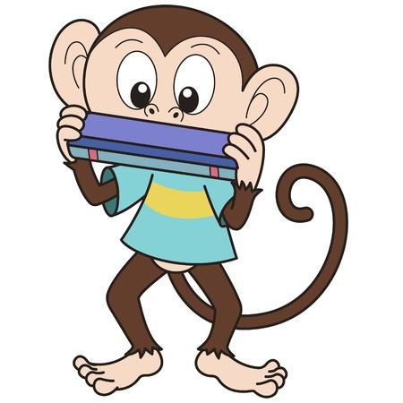 Cartoon monkey playing a harmonica  Vector