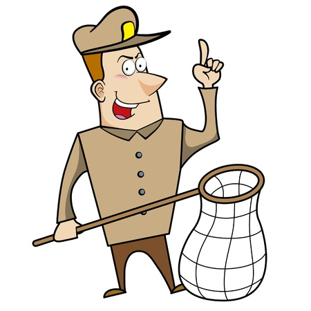 Cartoon animal control officer holding a net for catching animals. Stock Vector - 18404641