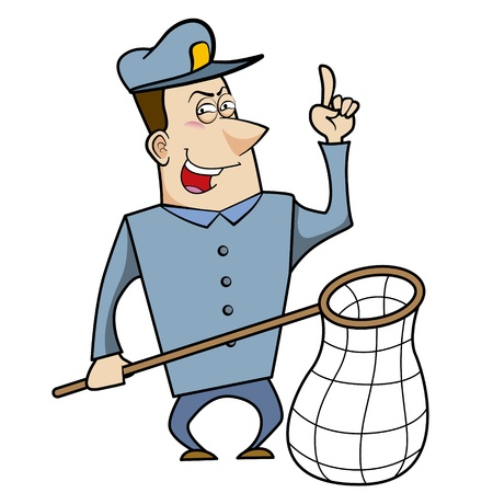 Cartoon animal control officer holding a net for catching animals. Stock Vector - 18404645