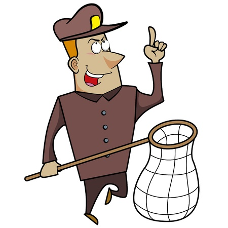 Cartoon animal control officer holding a net for catching animals. Stock Vector - 18404643