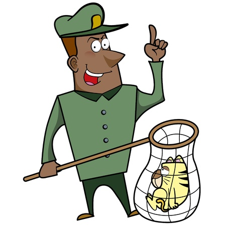 Cartoon animal control officer with a cat caught in a net. Stock Vector - 18404662
