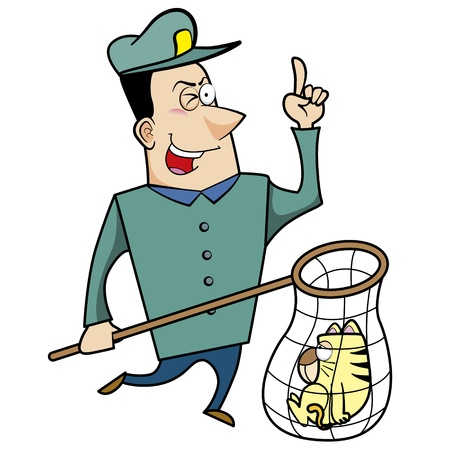 Cartoon animal control officer with a cat caught in a net. Stock Vector - 18404663