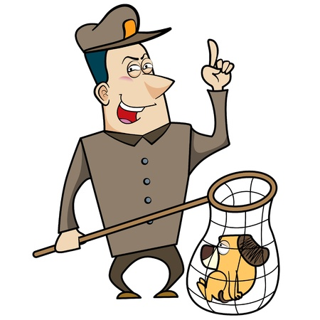 housecat: Cartoon animal control officer with a cat caught in a net.