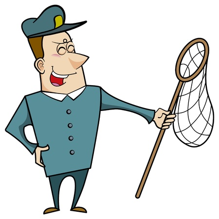 Cartoon animal control officer holding a net for catching animals Stock Vector - 18404655