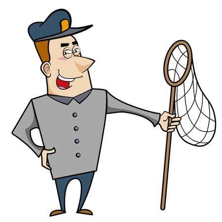 Cartoon animal control officer holding a net for catching animals Stock Vector - 18404638