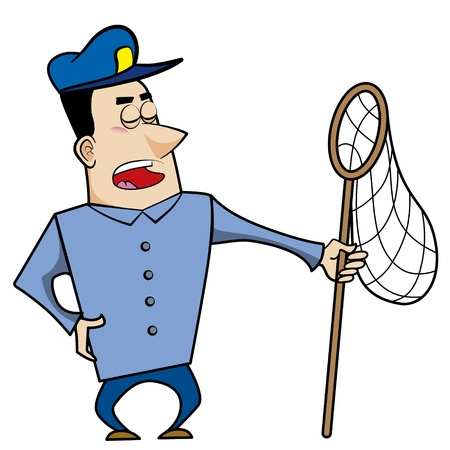 Cartoon animal control officer holding a net for catching animals  Stock Vector - 18404640