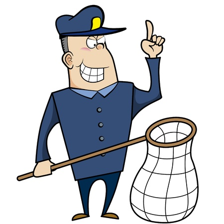 Cartoon animal control officer holding a net for catching animals  Stock Vector - 18404649