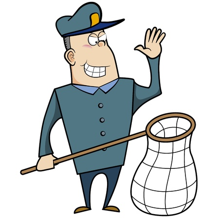 Cartoon animal control officer holding a net for catching animals Stock Vector - 18404647