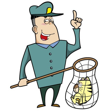 Cartoon animal control officer with a cat caught in a net Stock Vector - 18404661
