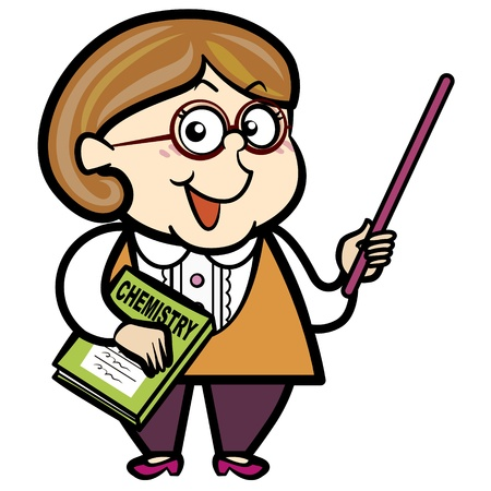 teaching adult: cartoon teacher with a pointer and book