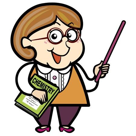 caucasian woman: cartoon teacher with a pointer and book