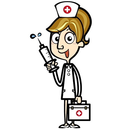 grinning: Cartoon nurse with first aid kit and syringe