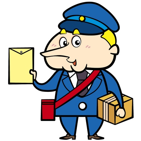 cartoon postman with a letter and package Vector