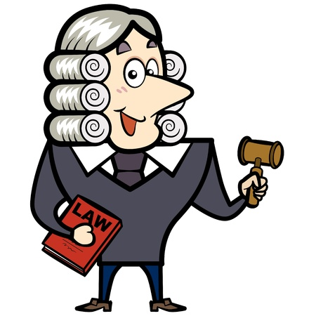Cartoon judge with a gavel and law book  Vector