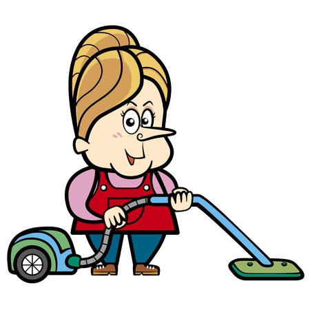 Cartoon housewife with a vacuum cleaner  Иллюстрация