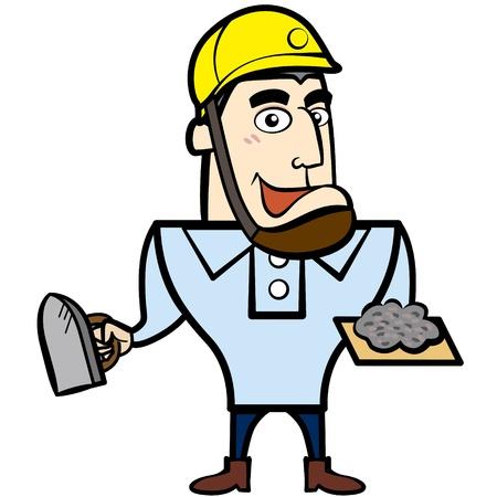 Dibujos Animados Hombre Constructor Con La Herramienta De Derby ...