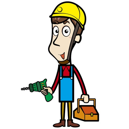 electric drill: Cartoon plumber with an electric drill and toolbox