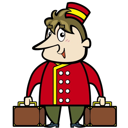Cartoon porter with suitcases  Vector
