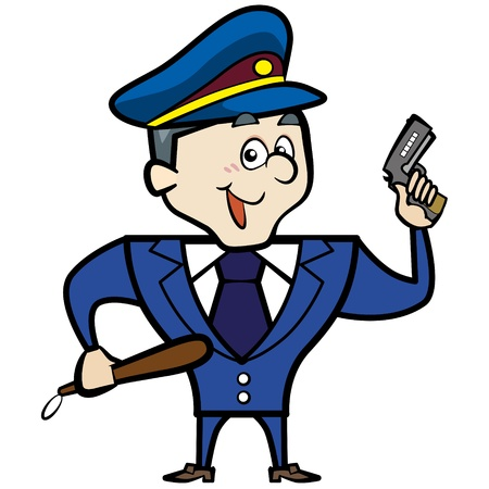 Cartoon police officer man with gun  Vector