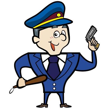 gorra policía: Policía Cartoon hombre con el arma oficial Vectores