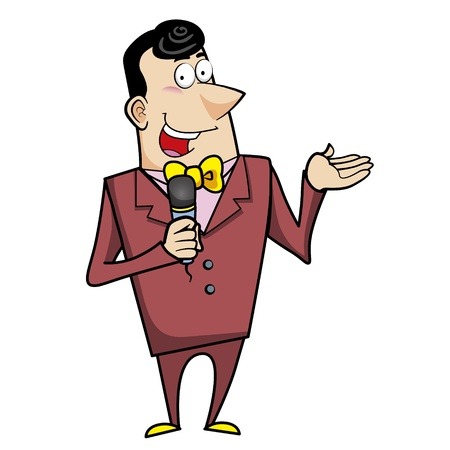 host: Vector illustration of a television host or event emcee holding a microphone.