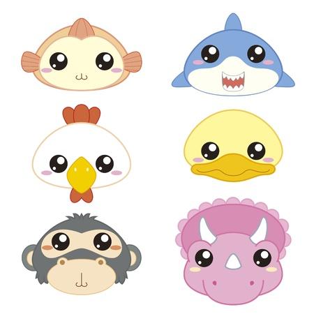 tiburon caricatura: seis iconos de animales lindos de la historieta de la cabeza Vectores