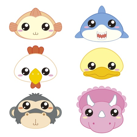 six cute cartoon animal head icons Stock Vector - 18435081