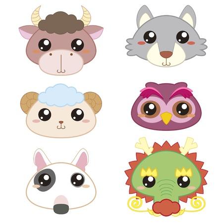 clip art draw: six cute cartoon animal head icons