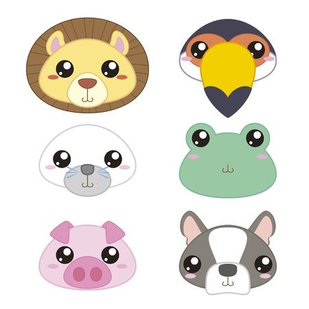 Seis iconos de animales lindos de la historieta de la cabeza Foto de archivo - 18436999