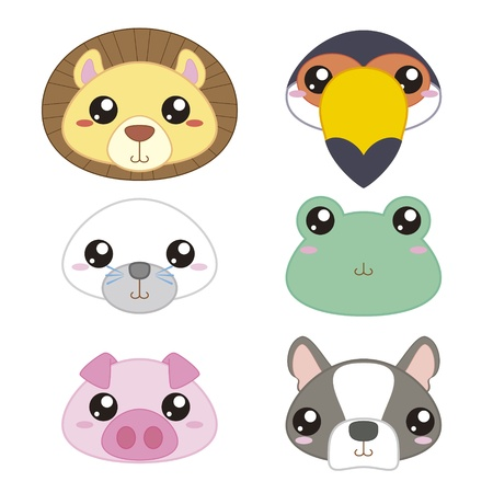six ic�nes mignons animal cartoon t�te