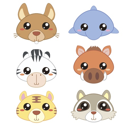 six cute cartoon animal head icons Stock Vector - 18435088