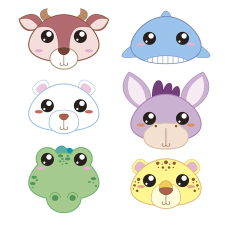 six cute cartoon animal head icons Stock Vector - 18435075