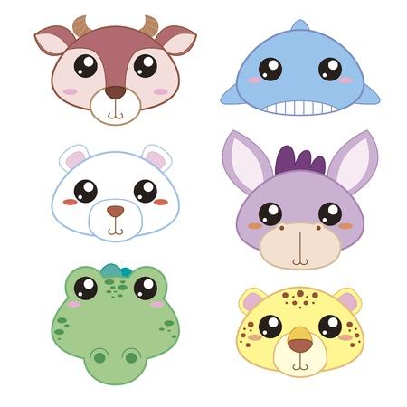 six mignons tête icônes animal de bande dessinée Vecteurs