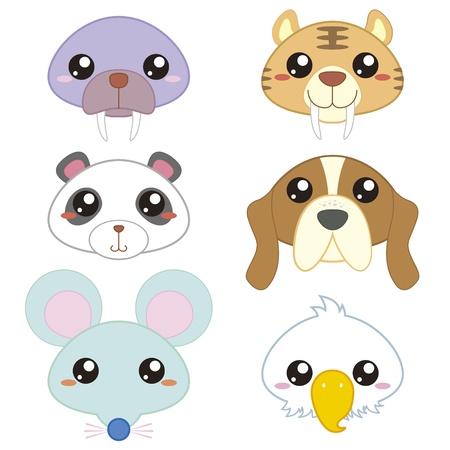tigre caricatura: seis iconos de animales lindos de la historieta de la cabeza Vectores