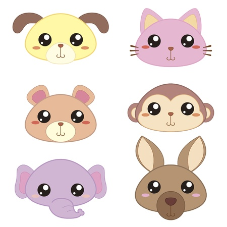 stílus: Hat aranyos rajzfilm állat fej ikonok Illusztráció