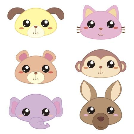 style: six cute cartoon animal head icons
