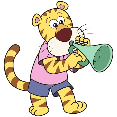 Cartoon tiger playing a trumpet  Vector