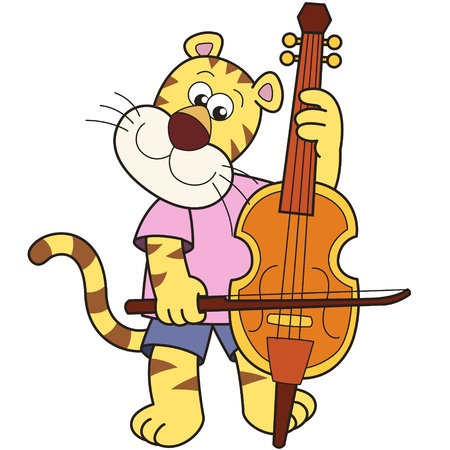 smilling: Cartoon tiger playing a cello