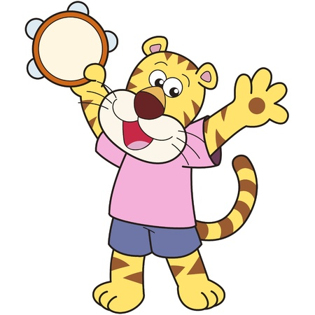 school baby: Cartoon tiger playing a tambourine