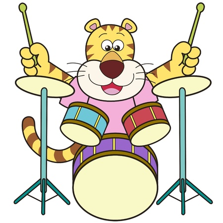 drummer: Cartoon tiger playing drums  Illustration