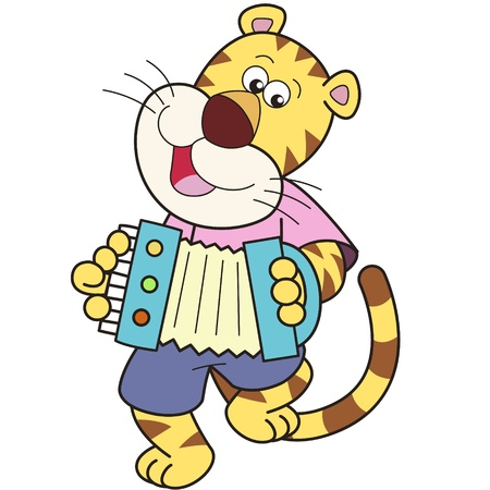 Cartoon tiger Playing an Accordion Vector