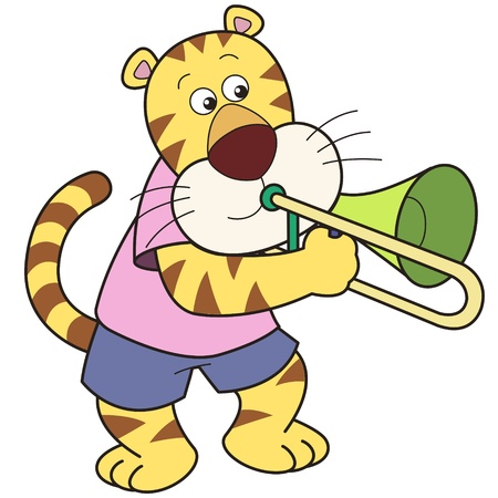 Cartoon tiger playing a trombone