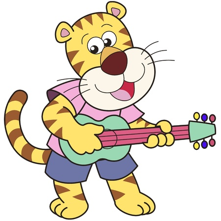 playing the guitar: Cartoon tiger playing a guitar