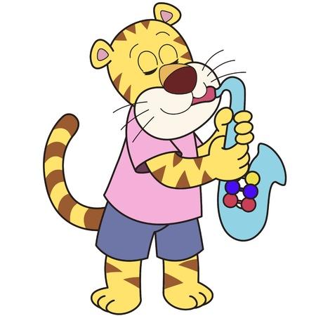 Cartoon tiger playing a saxophone Stock Vector - 18465739