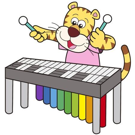 tigre bebe: Cartoon tigre jugando un vibr�fono Vectores