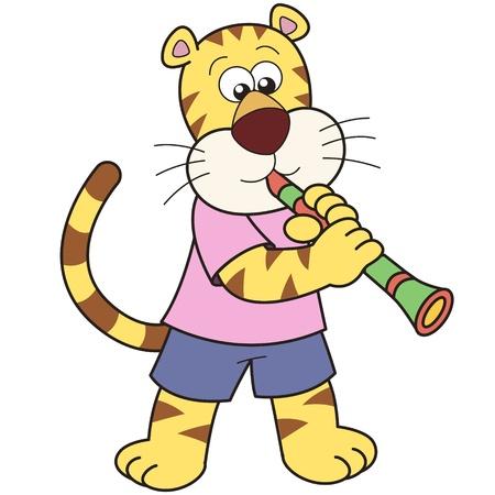 clarinet: Cartoon tigre jugando un clarinete
