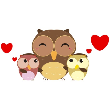 children s art: cute cartoon owl family Illustration