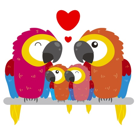 cute cartoon parrot family Vector